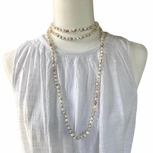 """Faceted Genuine White Pearl Layering Necklace 30"""""""